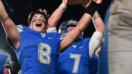 Nouvel Catholic Central scores twice in the final 6 min to complete an incredible comeback for a 27-26 district championship over No. 8 Harbor Beach